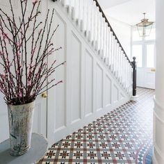 Take a tour of this reconfigured Edwardian semi in London With a complete renovation, this six bedroom property has become a perfect family home. Take the tour Small Entrance Halls, Hallway Ideas Entrance Narrow, Entryway, White Hallway, Tiled Hallway, Modern Hallway, Hall Tiles, Hallway Flooring, Modern Staircase