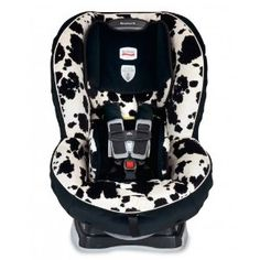 Britax Marathon 70 - rear faces up to 40 pounds/48 inches!  And really, what's better than a cow print car seat? :)