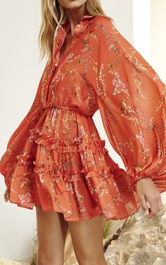 Loe Red Floral Blouson Dress by Alexis
