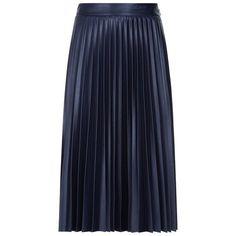Pinko Pleated Midi Skirt ($220) ❤ liked on Polyvore featuring skirts, mid calf skirts, knee length pleated skirt, blue midi skirt, pinko skirt and pleated skirts