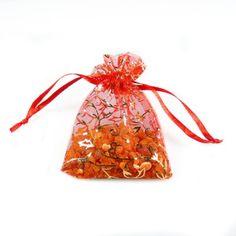 Sachet d'ambre brut dans son sachet d'organza rouge - Bijoux d'Ambre