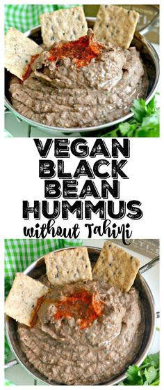 A Low Fat Spicy Black Bean Hummus Without Tahini lightened up by omitting the traditional ingredient without sacrificing taste. Pair with veggies & crackers for a healthy snack or spread on sandwich for extra protein & spice! Gluten Free + Vegan + Low Calorie