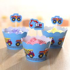 Construction Workin' Vehicles Cupcake Wrappers and Cake Toppers Picks Decorations (Set of 12)