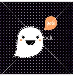 Cute kawaii halloween ghost isolated on black vector 1540989 - by lordalea on VectorStock® Kawaii Halloween, Halloween Ghosts, Halloween Party, Cute Ghost, Adobe Illustrator, Original Artwork, Vector Free, How To Draw Hands, Bee
