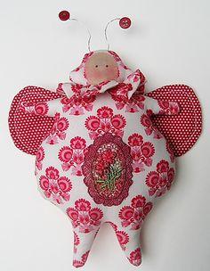 Tilda inspired Christmas bug - Tilda fabrics and hand dyed lace
