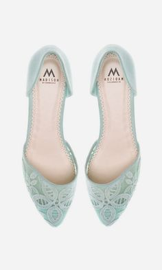 seafoam lace shoes - easy add color and glamor to an everyday outfit.