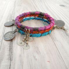 Silk Road Gypsy Bangle Stack, 3 Bohemian Tribal Bracelets, Silk Wrapped, Hot Pink, Turquoise, Orange