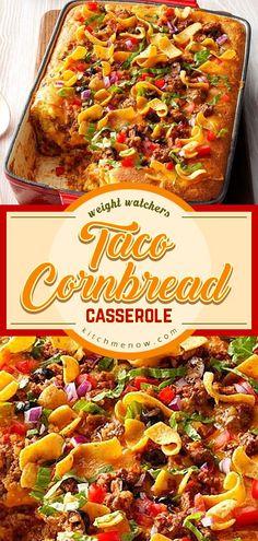 Taco Cornbread Casserole #weightwatchers #weight_watchers #WW #Taco #Cornbread #Casserole #recipe #food #yummy