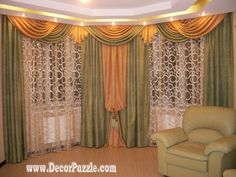 french curtain style for living room window, green and orange curtains 2017 The best designs of French country curtains for french doors and blinds, how to choose the best design of French curtains for living room hall, bedroom, kitchen Luxury Curtains, Cool Curtains, Rustic Curtains, Modern Curtains, Colorful Curtains, Curtains 2018, Kitchen Curtains, Farmhouse Curtains, Lace Curtains