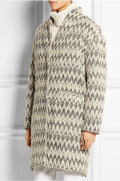 Cream, black and light-gray bouclé Concealed snap fastenings through front  45% polyester, 34% wool, 11% polyamide, 10% cotton; lining: 96% cotton, 4% elastane  Dry clean