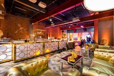 Gorgeous gold lounge and bar space.