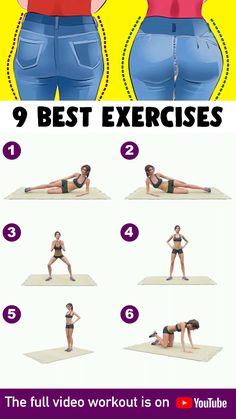 "If you want to have a round, lean, attractive ""bottom"" then here are the exercis. - If you want to have a round, lean, attractive ""bottom"" then here are the exercises you should b - Home Body Weight Workout, Full Body Gym Workout, Gym Workout Videos, Gym Workout For Beginners, Fitness Workout For Women, Hip Workout, Fitness Workouts, Fitness Tips, Health Fitness"