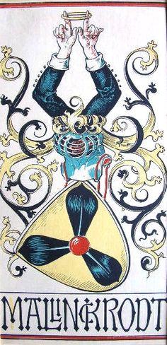 """Wappen des Geschlechts """"von Mallinckrodt"""" -- (Woodcut) Holzschnitt in 4 Farben von Otto Hupp; 29 x 13,5 cm; (aus dem """"Mchn. Kalender"""" von 1919)"""