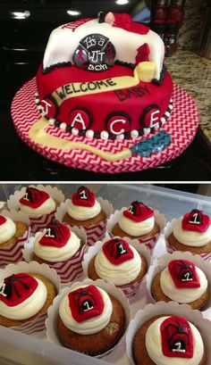 Firefighter Baby Shower Cake With Fire Helmet Cupcakes | Shared By LION