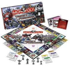 Transformer Monopoly! The ultimate board game and a must-have collectible for the Transformers Fan. Based on the Generation 1 comic book and animated series, this is the first and only game that allows you to buy, sell and trade the planets, bases, locations, and transports in the race for Energon Cubes and Anti-Matter in order to own and control the Transformers universe.