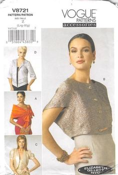 VOGUE 8721 - FROM 2011 - UNCUT - MISSES WRAP, SHRUG & JACKET