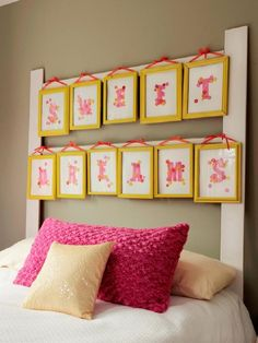 DIY Headboard with Picture Frames. can change the color of the frames and what's in the frames based on your kids interest. Great Idea!