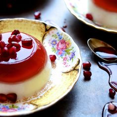 A sublimely smooth and healthy pomegranate jelly and vanilla yoghurt panna cotta duo with pomegranate syrup and arils.