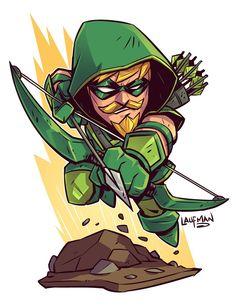 Chibi Green Arrow by Derek Laufman Chibi Marvel, Marvel Vs, Marvel Dc Comics, Flash Comics, Chibi Superhero, Character Drawing, Comic Character, Comic Books Art, Comic Art
