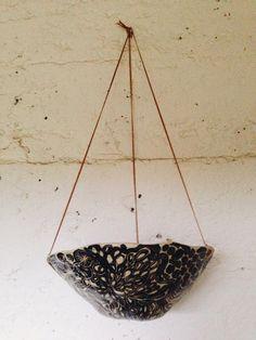 "Hand Painted ""Flora"" Stoneware Hanging Planter / Illustrated Ceramic Planter w/ Leather Cord / Succulent Planter / Medium Hanging Pot"