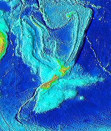 Topography of Zealandia. The linear ridges running north-northeast and southwest away from New Zealand are not considered part of the continental fragment, nor are Australia (upper left), Fiji or Vanuatu (top Vanuatu, Under The Ocean, Island Nations, The Weather Channel, Ancient Aliens, Ancient History, South Pacific, Pacific Ocean, Cartography