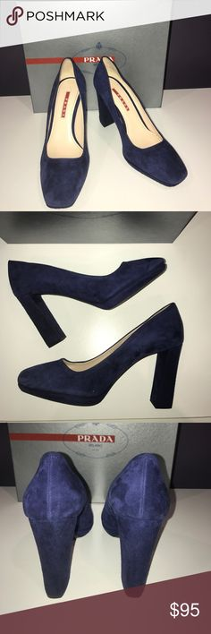 "Prada Navy Suede Pumps Authentic Prada Sport pumps in gorgeous navy blue. 3.5"" heel. Some minor scuffs from normal wear, but not very visible due to the suede. Euro 38 but fits a US 7.5. Comes with box and dustbag. Prada Shoes Heels"