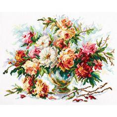 Гоблен Чудесная игла 40-62 Пастелни цветове Cross Stitch Bird, Counted Cross Stitch Kits, Cross Stitch Flowers, Embroidery Patterns Free, Embroidery Thread, Peonies Bouquet, Le Point, Vintage Flowers, Creative Art