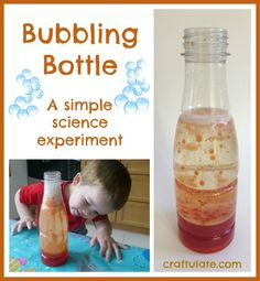 This bubbling bottle is a great introduction to simple science experiments. It uses water, food dye, clear oil and effervescent tablets.