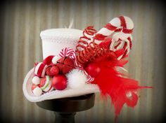 Christmas Peppermint Candy Mini Top Hat Alice in by ChikiBird, $48.00