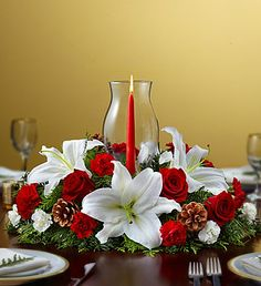 Holiday Centerpiece with Glass Hurricane 50-70