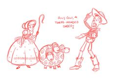 mutant sheep by `briannacherrygarcia on deviantART Lego Toy Story, Toy Story 1995, Disney Sketches, Disney Drawings, Disney Fan Art, Disney Pixar, Walt Disney, Dibujos Toy Story, Disney Lines