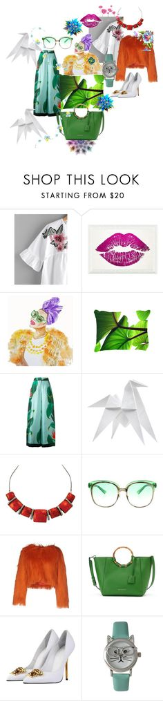 """💚Your mind is a Garden 💚"" by maijah ❤ liked on Polyvore featuring Oliver Gal Artist Co., F.R.S For Restless Sleepers, Hermès, Gucci, Relish, Dana Buchman, Versace and Olivia Pratt"