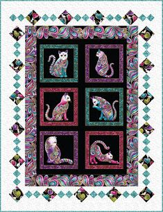 Sew in Love {with Fabric}: Cat-I-Tude Virtual Trunk Show Quilting Projects, Quilting Designs, Quilting Ideas, Fabric Panel Quilts, Quilting Fabric, Fabric Panels, Cat Quilt Patterns, Loom Patterns, Charm Pack Quilts