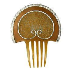 Spectacular American Celluloid Rhinestone Hair Comb