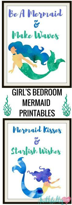 Free Girl's Bedroom Mermaid Printables -Perfect for any little girl who loves mermaids.Free Printables. Mermaids Printables.