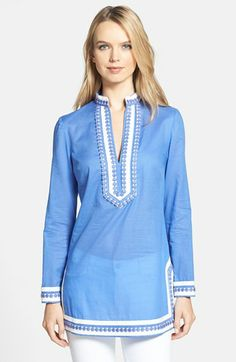 Tory Burch 'Tory' Cotton Tunic available at #Nordstrom
