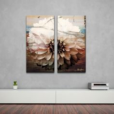 Ready2HangArt 'Daisy' Oversized Canvas Wall Art ($185) ❤ liked on Polyvore featuring home, home decor, wall art, brown, brown wall art, floral home decor, rose canvas wall art, canvas home decor and canvas panels