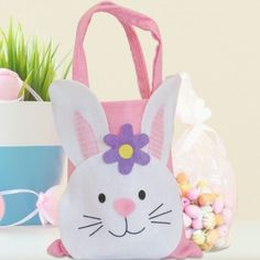 Personalised easter gifts card factory tasse pinterest personalised pink bunny bag with easter egg chocolates negle Images