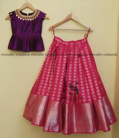 Kids blouse designs - Beautiful pink color designer lehenga and purple color peplum top Peplum top with hand embroidery kasu work on neck line 13 April 2018 Lehenga Designs, Half Saree Designs, Saree Blouse Designs, Girls Frock Design, Kids Frocks Design, Baby Dress Design, Kids Lehanga Design, Kids Gown Design, Frocks For Girls
