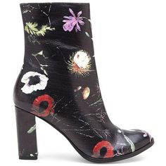 Matisse Graffiti Floral Print Boots ($151) ❤ liked on Polyvore featuring shoes, boots, ankle booties, black, leather booties, black bootie, black leather ankle booties, black leather bootie and black leather booties