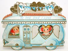 RARE Vintage Valentine Travel Trailer Airstream 3 D Diecut Card Fun Large 10"