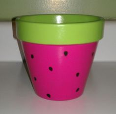 painted+flower+pots | Hand Painted Watermelon Flower Pot by PaintedParrot on Etsy
