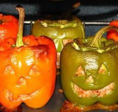 Stuffed Jack O Lanterns - Great idea for entertaining on a cold evening - Click pic for recipe - #halloween #party #foods
