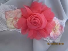 White Lace Headband with Large Chiffon Rose Flower and 5 Petal Side Flowers by BellasBowtique for $3.83
