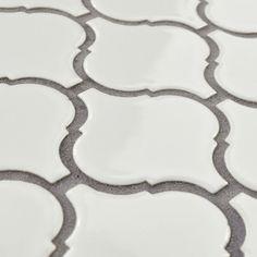 """EliteTile Retro Lantern 2.87"""" x 3.06"""" Porcelain Mosaic Tile in Glossy White"""