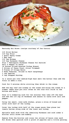 Ultimate Kentucky Hot Brown - recipe courtesy of Joe Castro who won the Hot Brown Throwdown with Bobby Flay.
