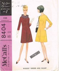 McCall's Pattern 8404 Misses' A-Line Dress PatternBy Famous Designer Mollie ParnisDated 1966Complete Nice Condition10 of 10 Pattern PiecesCounted. Verified. Gua