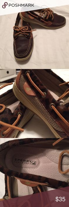 Brown leather sperry Brown Leather cheetah print sperry never used  size 8.5 Sperry Top-Sider Shoes