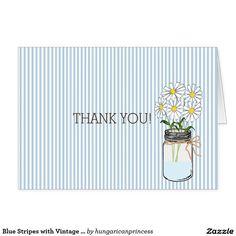 Blue Stripes with Vintage Mason Jar Thank You Card