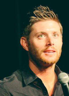 Jensen Ackles, green eyes, beard...hello beautiful.